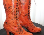 Victorian lace up Boots in Orange Leather with printed  flowers Ankle boots Order your customized boots