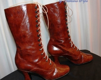 SALE Last pair 6 US / 37 European Victorian Boots Ankle Boots Lace up polish Brown Leather Boots High Heels Shoes