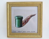 Framed Print, Mario Pipe Magritte Pipe in gold frame