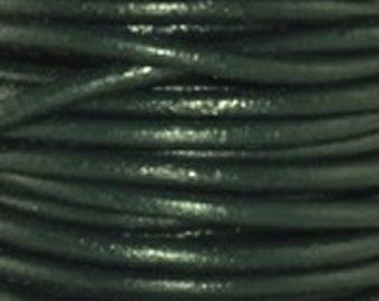 1mm Round Leather Cord Bright Green : 2 yards 1.83m