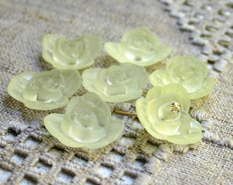 50pcs Frosted Lucite Flower Rose Beads Acrylic 21x8mm Yellow