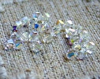 24pcs Swarovski Bicone Crystal Beads Crystal Clear AB Faceted Austrian Crystal 6mm Xilion Model 5328