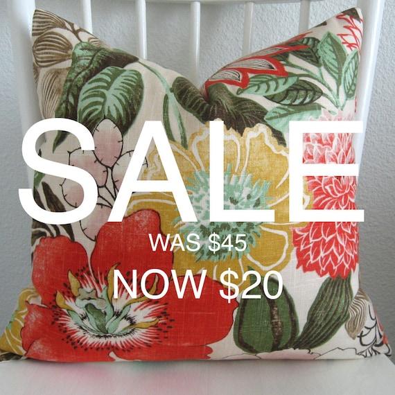 SALE - Decorative Pillow Cover - 20x20 - Linen - Botanical - Floral - Yellow - Red - Green - Pink - Throw Pillow