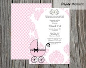 Baby Shower Invitation Girl Vintage Carriage