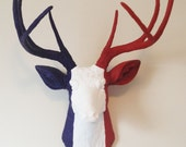French  Flag Deer Head Wall Mount