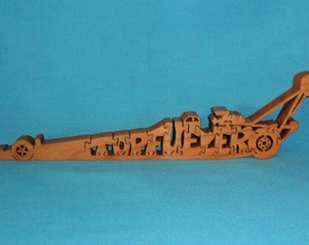 Top Fueler Dragster Handmade Wooden Scroll Saw Puzzle