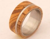 Titanium Ring Mens Wedding Band with  Bethlem olive wood and titanium ring