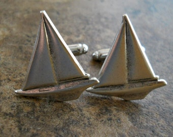 Sailboat Cuff Links in Antiqued Silver