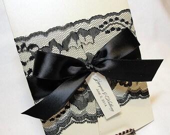 Lace Wedding Invitation, Lace Wedding Invite, Wedding Invitations, Vintage Wedding Invite, Pocketfold Invite AMY- BOW BLACK