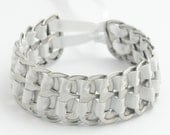 Upcycled pop tab bracelet - white, stacked weave,  7  inch