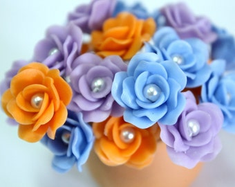 Miniature Roses Polymer Clay Flowers Supplies for Beaded Jewelry 12 pcs. in shade of Lavender-Blue-Orange, 3 tones