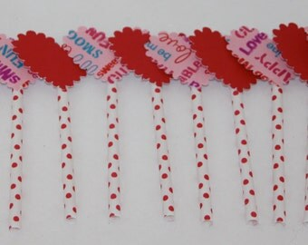 Valentine Heart Cupcake and Cake Toppers 12 Red and Pink/Polka Dots