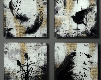 Raven Set of Four 5 Inch Square Flat Glass and Wood Wall Blox from Upcycled Dictionary page book art - WilD WorDz - Nevermore Set of 4
