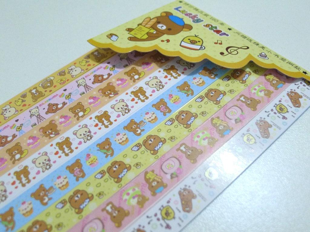 Cute teddy rilakkuma origami lucky star folding paper for Lucky star folding