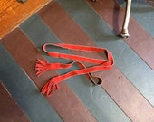 Vintage BOHO CHIC Red Suede Tie Belt with Fringe