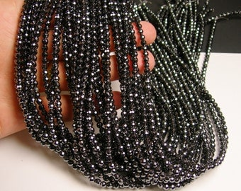Hematite - 4 mm faceted round beads -1 full strand -98 beads - AA quality - RFG807