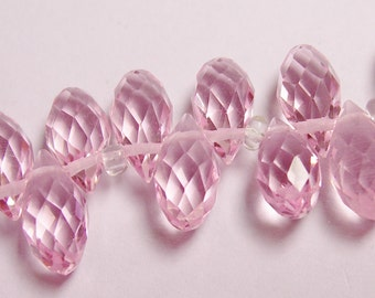 Faceted teardrop crystal briolette beads - 24 pcs - 12mm by 6mm - top sideways drill - pink