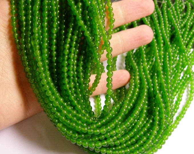 Jade - 4mm round beads -1 full strand - 96 beads  - Green  jade - NRG140