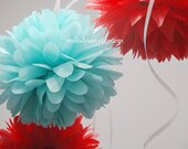 6 small tissue pom poms with ribbon, 9'' ball, party decoration, choose your colors
