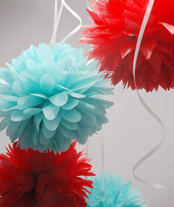 9 small tissue pom poms with ribbon, 9'' ball, party decoration, choose your colors