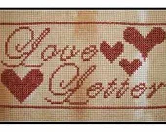 PDF E pattern emailed Primitive Valentines Day Love Letter Cross Stitch Pattern 125