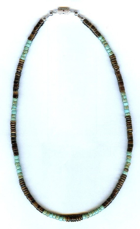 Mens / Unisex Turquoise Gemstone Heishi, Brown Bone and Brown Shell Beaded Necklace