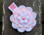 Pink Felt Flower Barrette
