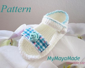 Crochet Pattern - Green Flower & Plaid Crochet Baby Sandals PDF Pattern - SD04192013-02 - Instant Download