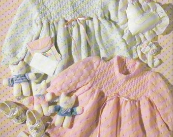 Knitting Pattern - Vintage 1990 Baby Girl Party Dress PDF Pattern - Instant Download