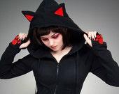 Long hoodie ears cat black red paws