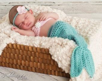 Newborn Mermaid Prop/ Mermaid Tail/ Baby Girl Photo Prop/Mermaid Baby/Aqua Mermaid Tail/Halloween Costume / Little Mermaid/ Ocean Nursery