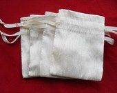 """100 Ivory Dupioni Silk drawstring Pouch 3"""" X 5"""" for stamping jewelry bath salts herbs handmade soap"""