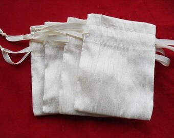 "300 Ivory Dupioni Silk drawstring Pouch 3"" X 5"" for stamping jewelry bath salts herbs handmade soap"