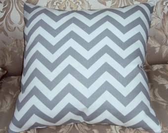 Gray Chevron Zig Zag Decorative Pillow Cover - Available In 3 Sizes