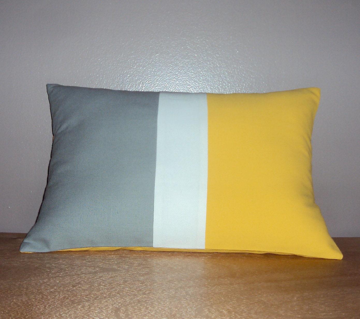 Modern Lumbar Pillow : 18x12 Modern Color Block Lumbar Pillow Cover In Gray Yellow