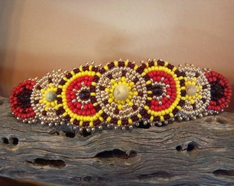 Bead Embroidered Barrette, Native Inspired Rosette Beadwork, Handmade Hair Accessory, Circle Beaded Hair Clip, Statement Beadwork on Leather