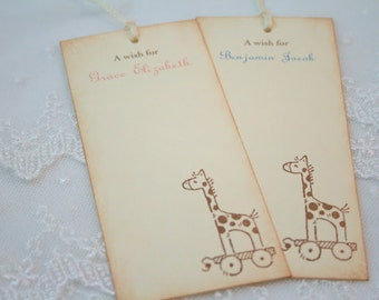 Personalized Wish Tree Tags Baby Shower Wishing Tree Vintage Neutral Boy or Girl Giraffe Set of 10