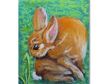 Brown Bunny Rabbit Pastel Painting, Pastel on Wallis Paper, Pastel Chalk Rabbit, Mini Format Art