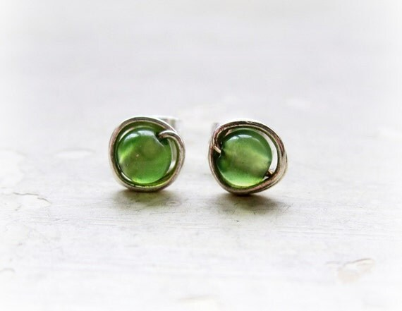 Green Aventurine Stud Earrings // Sterling Silver Wire Wrapped Posts
