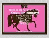 Equestrian Horse Birthday Invitations Stallion horse Birthday Invitation