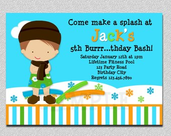 Indoor Pool Party Invitation Winter Pool Party Birthday Invitation Boys or Girls Printable