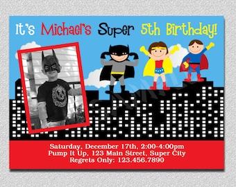 Superhero Birthday Invitation Superhero Birthday Party Invitation Printable Boys Girls Siblings