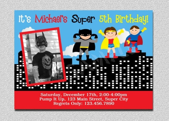 il_570xn - Superhero Birthday Party Invitations