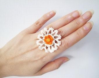 Irish Crochet Lace Jewelry (Cosmos I-a) Fiber Jewelry, Statement Ring, Crochet Ring
