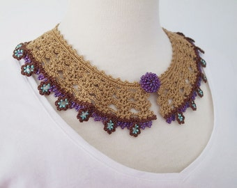 Crochet Lace Collar (Beaded Lace Collar II-b), golden color, brown, purple, teal