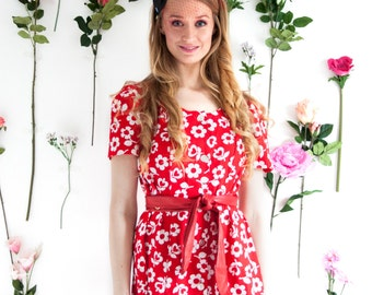 Cleo, French Vintage, 1960s Red Floral Mini Dress from Paris