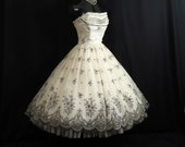 Vintage 1950's 50s STRAPLESS Bombshell Black White Floral Flocked Velvet Chiffon Organza Party Prom Wedding DRESS