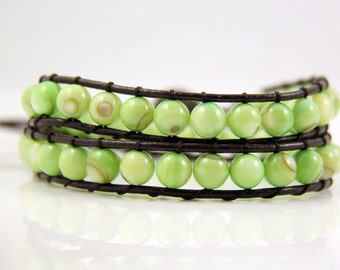 Pale Green Mother Of Pearl Bead Leather Wrap Bracelet
