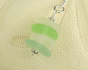 Sea Foam Green Sea Glass Pendant Necklace Sterling Silver Aqua White
