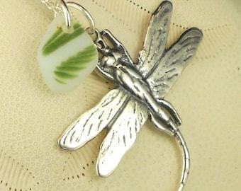 Eco Friendly Santa Cruz Lundberg Sea Glass Necklace RARE Fern Green And Sterling Silver Dragonfly